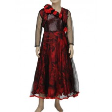 Deals, Discounts & Offers on Kid's Clothing - Priyank Red Ball Gown With Shrug