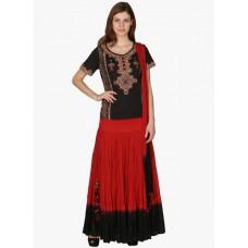 Deals, Discounts & Offers on Women Clothing - Ritu Kumar Black Flared Ghagra With Top