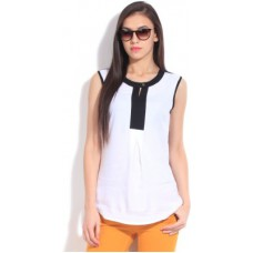 Deals, Discounts & Offers on Women Clothing - Elle Casual Sleeveless Solid White Top