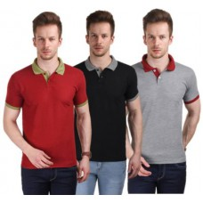 Deals, Discounts & Offers on Men Clothing - Stylogue Solid  Polo Neck T-Shirt