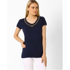 Deals, Discounts & Offers on Women Clothing - Upto 40% off on T-Shirt With Embellished Neckline