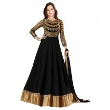 Deals, Discounts & Offers on Women Clothing - Dhruva Fab Black Georgette Anarkali Gown Unstitched Dress Material