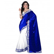 Deals, Discounts & Offers on Women Clothing - Kesar Sarees Blue Velvet Saree