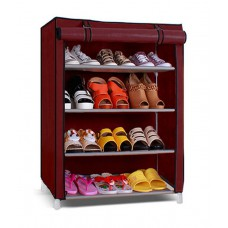 Deals, Discounts & Offers on Home Appliances - Pindia Collapsible 4 Layer Shoe Rack in Maroon