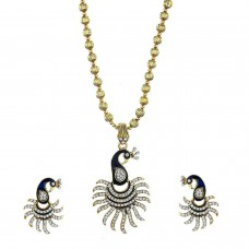 Deals, Discounts & Offers on Women - Zeneme CZ Designer Peacock Pendant Set with Chain and Earrings