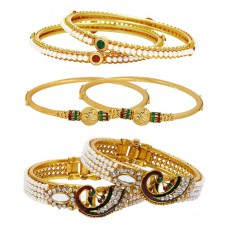 Deals, Discounts & Offers on Women - Jewels Galaxy Gold Plated Studded Stone Bangle Combo