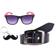 Pressie Offers and Deals Online - Combos of Red & Black Wayfarers, Black  Belt, Black Moustache Keychain
