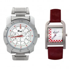 Deals, Discounts & Offers on Men - Flat 58% off on Raux White And Red Dial Analog Watch