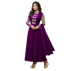Deals, Discounts & Offers on Women Clothing - Upto 75%Helix Enterprise Purple  Georgette Long Anarkali Suithud