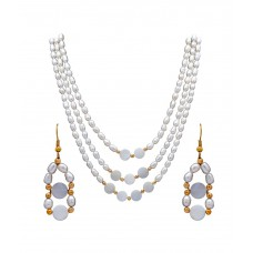 Deals, Discounts & Offers on Women - Dd Pearls Semi Precious Splendid 3 Lines Freshwater And Mother Of Pearls Set For Women