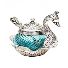 Deals, Discounts & Offers on Accessories - Sajawat Bazaar Silver Handcrafted Turquoise Aluminium Duck Bowl With Spoon