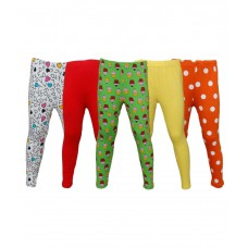 Deals, Discounts & Offers on Kid's Clothing - Little Stars Multicoloured Cotton Spandex Leggings - Pack of 5