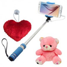 Deals, Discounts & Offers on Mobile Accessories - Novel Mini Selfie Stick With Little heart Teddy combo