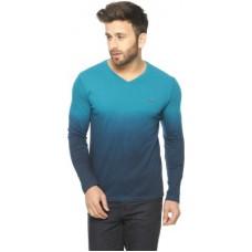 Deals, Discounts & Offers on Men Clothing - Gritstones Embroidered Men's V-neck Blue T-Shirt