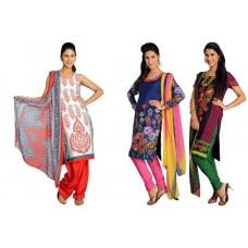 Deals, Discounts & Offers on Women Clothing - Swastik Designer Suits - Set of 3