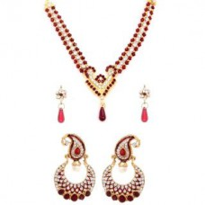 Deals, Discounts & Offers on Women - Flat 87% off on Traditional combo of designer maroon necklace and set