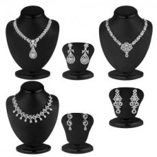 Deals, Discounts & Offers on Women - Sukkhi Silver Plated Silver Set Of 3 Piece Necklace Set