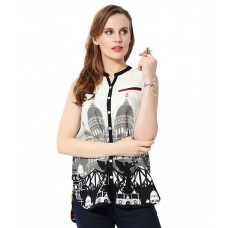 Deals, Discounts & Offers on Women Clothing - Akkriti By Pantaloons White & Black Printed Top