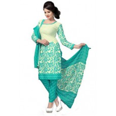 Deals, Discounts & Offers on Women Clothing - Janasya Sky Blue Polyester Printed Unstiched Dress Material
