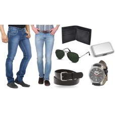 Deals, Discounts & Offers on Men - Upto 78% off on Stylox pack of 2 denims with Accessories, 36