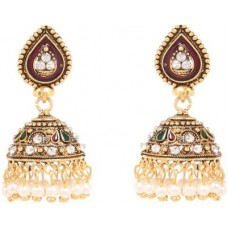 Deals, Discounts & Offers on Women - GoldNera Stone Meena Alloy Jhumki Earring
