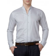 Deals, Discounts & Offers on Men Clothing - white dotted  printed formal slim fit shirt