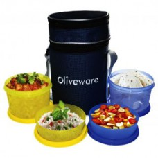 Deals, Discounts & Offers on Home & Kitchen - Oliveware Smart Lunch Bag With 2 Big And 2 Small Containers