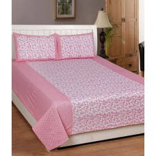 Deals, Discounts & Offers on Home Appliances - Panipat Textile Hub Pink and White Cotton Double Bedsheet with 2 Pillow Cover