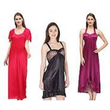 Deals, Discounts & Offers on Women Clothing - Oleva Combo Of 3 Black & Red Satin  Nightwear