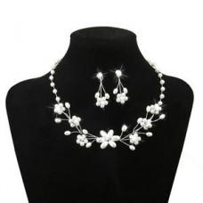 Deals, Discounts & Offers on Women - Wedding Bridal Jewelry Flower Beaded Pearl Rhinestone Necklace Earring Set