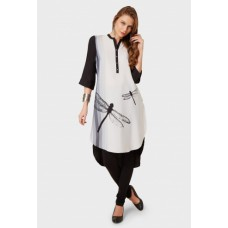 Deals, Discounts & Offers on Women Clothing - W High Low Dragonfly Print Kurti