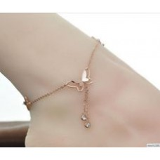 Deals, Discounts & Offers on Women - Asma elegant Butterfly Rose Gold Plated Stainless Steel anklet