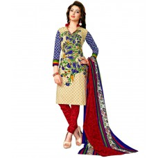 Deals, Discounts & Offers on Women Clothing - Drapes Beige & Red Printed Unstitched Cotton Dress material