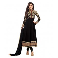Deals, Discounts & Offers on Women Clothing - Sabhyata Fashions Black Georgette Embroidered A-line Dress material