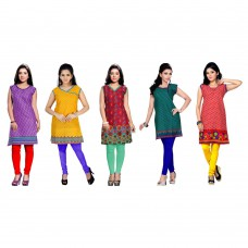 Deals, Discounts & Offers on Women Clothing - Upto 54% off on Trendbend Combo Of 5 Kurtis