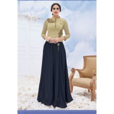 Deals, Discounts & Offers on Women Clothing - Shanaya Crop Top with Flaired Blue Georgette Long Skirt