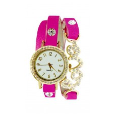 Deals, Discounts & Offers on Women - Golden And Pink Diamond Studded Love Wrist Watch