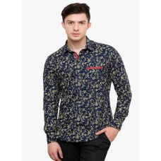 Deals, Discounts & Offers on Men - Blackbuk India Blue Printed Slim Fit Casual Shirt