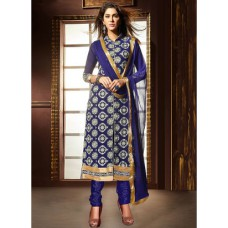 Deals, Discounts & Offers on Women Clothing - Upto 51% off on Parisha Blue Embroidered Dress Material