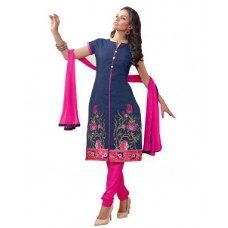 Deals, Discounts & Offers on Women Clothing - Multi Retail Blue Embroidered Chanderi Silk Unstitched Dress Material