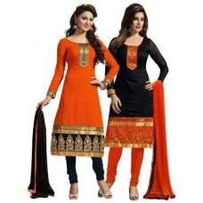 Deals, Discounts & Offers on Women Clothing - Shonaya Set Of 2 Black & Orange Printed Chanderi Cotton Dress Material