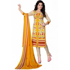 Deals, Discounts & Offers on Women Clothing - Nazaquat Easy Dry Yellow Printed Crepe Unstitched Dress Material