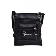 Deals, Discounts & Offers on Women - Hawai Black Pu Leather Sling Bag