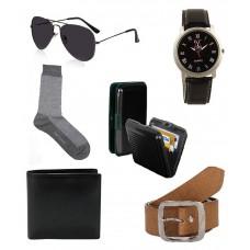 Deals, Discounts & Offers on Men - Lime Combo Of  Wallet,Belt,Watch,Sunglasses,Card Holder,Scoks