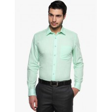 Deals, Discounts & Offers on Men Clothing - Green Solid Regular Fit Formal Shirt