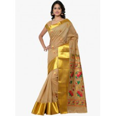 Deals, Discounts & Offers on Women Clothing - Varkala Silk Sarees Beige Embellished Saree