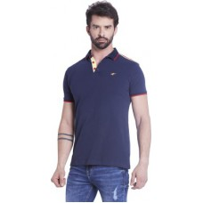 Deals, Discounts & Offers on Men Clothing - Globus Solid Men's Polo Dark Blue T-Shirt