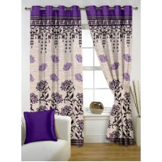Deals, Discounts & Offers on Home Decor & Festive Needs - Story @ Home Jacquard Purple Abstract Eyelet Window Curtain