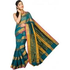 Deals, Discounts & Offers on Women Clothing - Pavechas Striped Banarasi Cotton Silk Sari