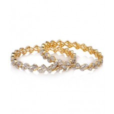 Deals, Discounts & Offers on Women - YouBella American Diamond Gold Plated Bangles For Women